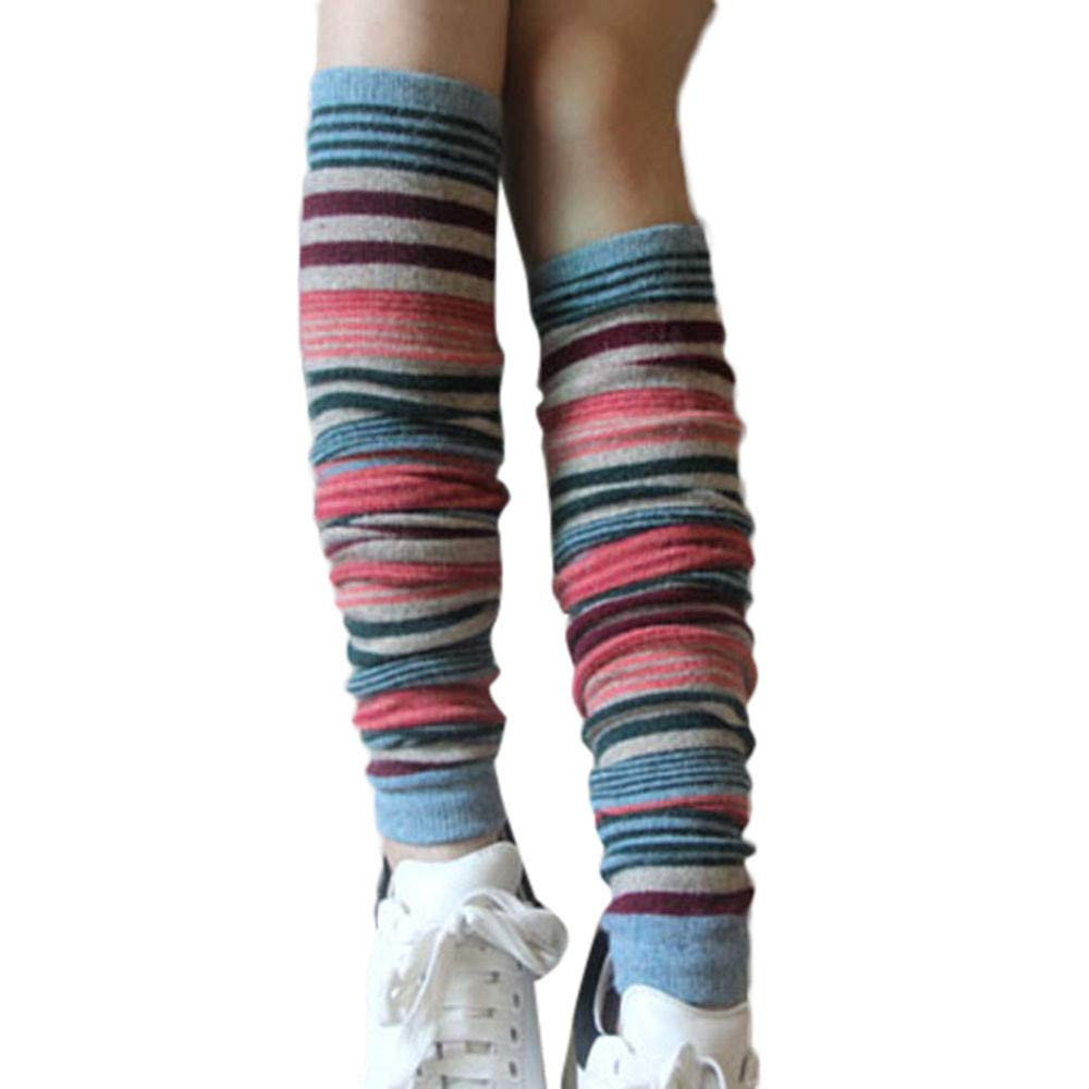 Women Girls Fashion Thigh High Stockings Striped Warm Over Knee Long Cotton Socks Hanican