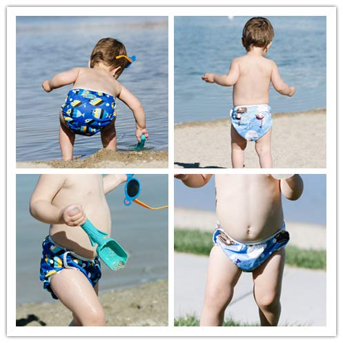 ALVABABY Swim Diapers Large Size 2pcs Reuseable Washable & Adjustable for Swimming Lesson & Baby Shower Gifts (Fishes & Blue sea, 0-3 Years) ZDYK05-06