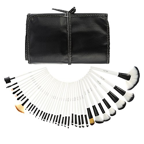 Abody 36pcs Holz Make-up Pinsel Set Berufskosmetik Bürsten Set + Tasche