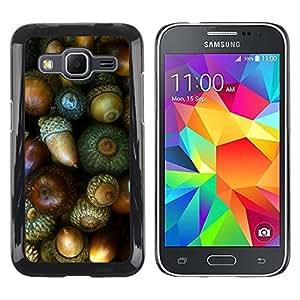 Be Good Phone Accessory // Dura Cáscara cubierta Protectora Caso Carcasa Funda de Protección para Samsung Galaxy Core Prime SM-G360 // Nut Green Autumn Acorn