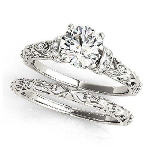 14K White Gold Unique Wedding Diamond Bridal Set Style MT50978