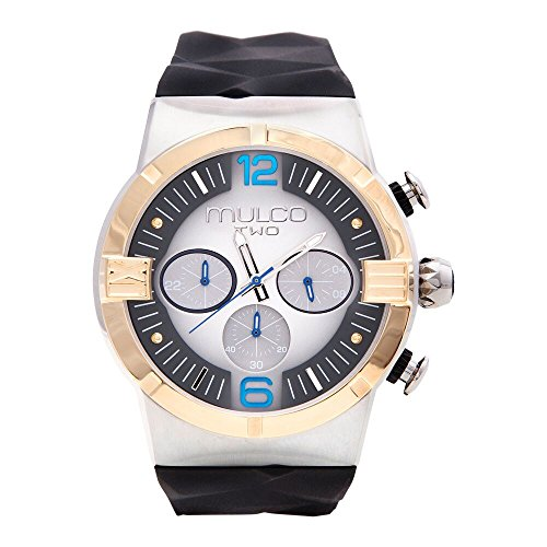 - Mulco Two Dome Swiss Quartz Chronograph Movement Watch | Premium Sundial Display with Rose Gold Accents | Silicone Watch Band | Water Resistant Stainless Steel Watch (Black/Silver/Blue)