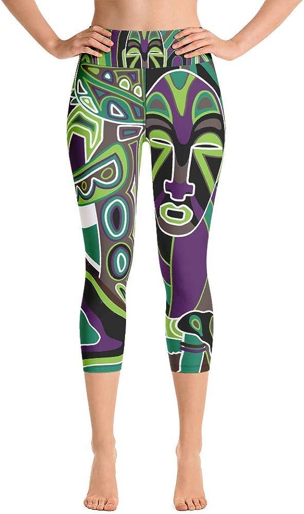Friendly Miles African Art Print Green Yoga Capri Leggings