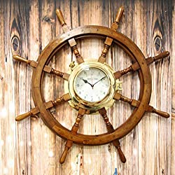 Ebros Gift Oversized 33.25 Diameter Nautical Vintage Rustic Wood and Brass Ship Steering Helm Boat Wheel Wall Clock Decor 3D Art Decorative Old World Pirate Captain Rudder
