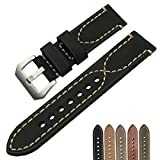 ZLIMSN THICK Genuine Leather Brown Black Watch Band Strap Stainless Steel Buckle 20 mm 22mm 24mm 26mm