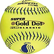Worth 12-Inch USSSA Stamped Slowpitch UC12SY Optic Yellow Protac Cover Ball (Pack of 12)