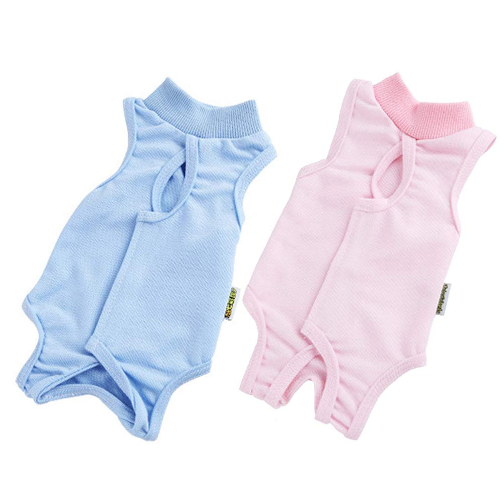 POPETPOP 2Pcs Breathable Cat Recovery Suit, Anti-Lick Kitten Medical Jumpsuit for Surgery, Pet Jumpsuit for Kitty and Puppy Weaning and Keep Warm (Pink and Blue, S) by POPETPOP
