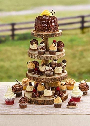 16 Inch Tall 4 Tier Rustic Wood Slice Cupcake Stand Wedding Cake Stand Wooden Cake Stand Wooden Cupcake Holder Rustic Wedding Decor