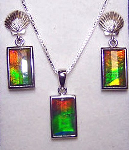 Ammolite 925 Sterling Silver Earring Pendant Set