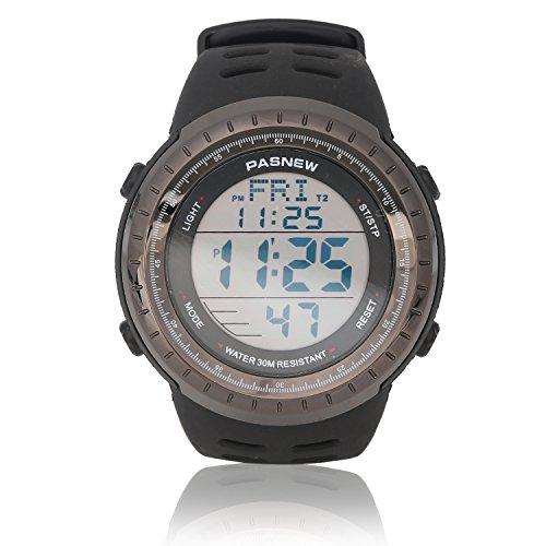Sport Watch for Men and Women, Multifunctional Wrist Clock, Dual Time Digital Display, 3ATM Waterproof, EL Backlight,12 Group Stopwatch, Countdown Timer, 3 Alarms Power Saving Function Black