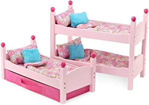 Emily Rose 18 Inch Doll Furniture | Lovely Pink Stackable Triple Bunk Bed, Includes Fabric Doll Clothes Storage Drawer and Plush Multi-Colored 4 Piece Doll Bedding Sets | Fits American Girl Dolls