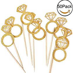 Kakasogo 50PCS Newest Wedding Bridal Shower Gold Glitter Diamond Ring Cupcake Cake Topper Picks for Marriage Engagement Anniversary Birthday Valentines Party Cake Decor