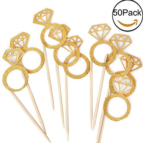 Cupcake Decorating Rings - Kakasogo 50PCS Newest Wedding Bridal Shower Gold Glitter Diamond Ring Cupcake Cake Topper Picks for Marriage Engagement Anniversary Birthday Valentines Party Cake Decor