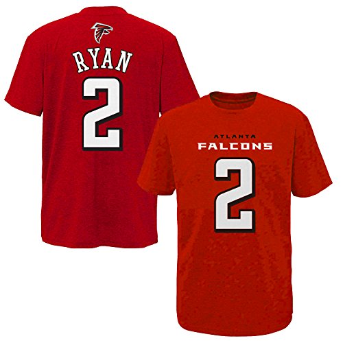 NFL Youth 8-20 Performance Mainliner Team Color Player Name and Number T-Shirt (Small 8, Matt Ryan) (Fashion Nfl)