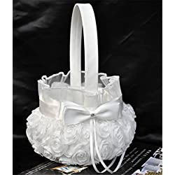 Lingstar Pure White Romantic Rosette Wedding Flower Basket Flower Girl Basket Easter Party