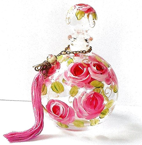 - Hand Painted Rose Large Round Empty Glass Perfume Bottle with Stopper Cap and Handmade Tassel