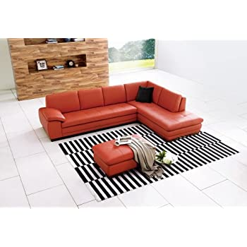 J&M Furniture 625 Pumpkin Colored Italian Leather Sectional Sofa With Tufted Design in Right Hand Facing