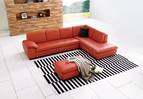 J&M Furniture 625 Pumpkin Colored Italian Leather Sectional Sofa With Tufted Design in Left Hand (Italian Sectional Sofa)