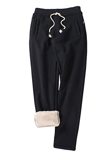 Jenkoon Womens Warm Fleece Sherpa Lined Sweatpants Drawstring Jogger Pant Trousers