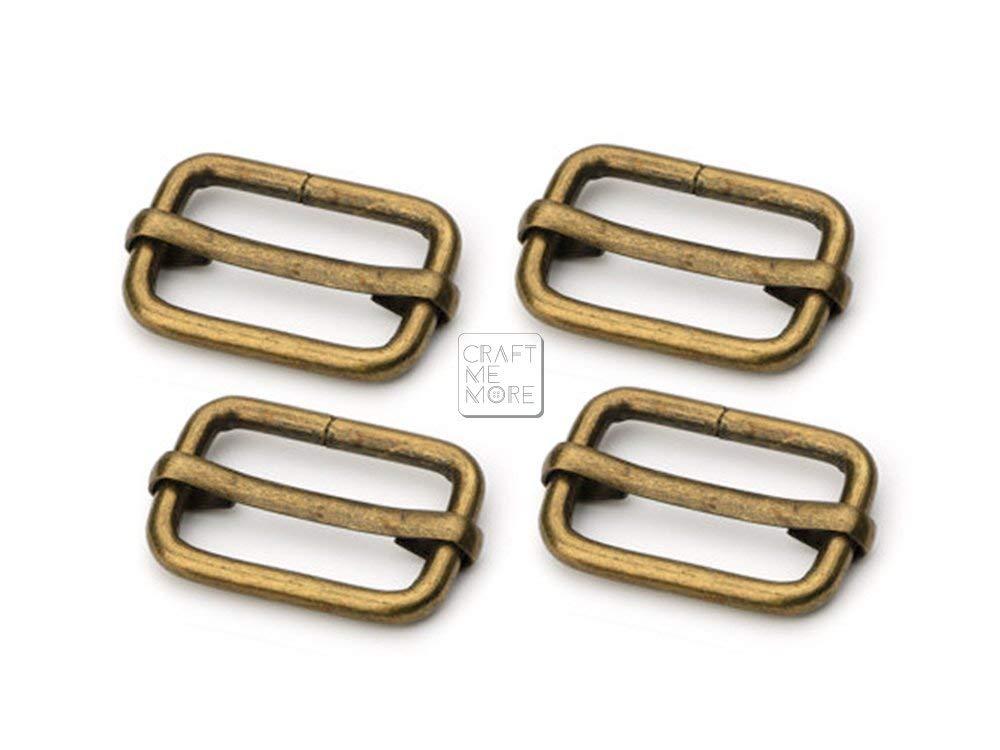 CRAFTMEmore Movable Bar Slide Strap Adjuster Rectangle Strap Keeper Triglide Belt Keeper Purse Making 5//8 3//4 1 Pack of 10 5//8 Inch, Gold