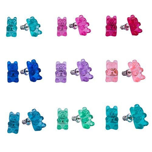 Earrings Set for Little Girls, Handmade Colorful Gummy Bear Stud Earrings for Kids Children Jewelry Set Of 9 -