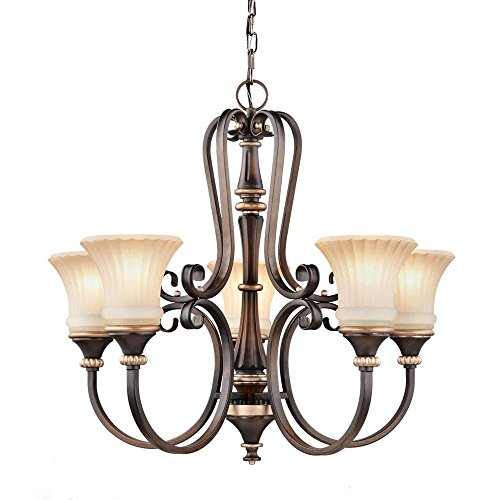Hampton Bay 17265 Reims 5-Light Berre Walnut Chandelier with Driftwood Glass Shades