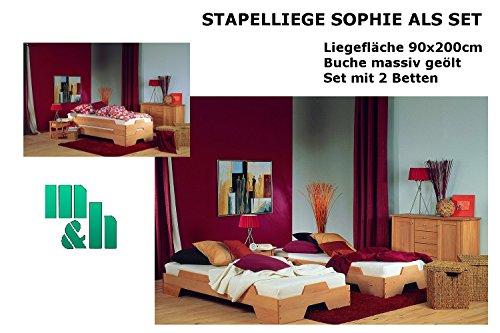 m&h Stapelliege Sophie in Buche massiv geölt als Stapelbett oder Gästebett nutzbar im 2er SET