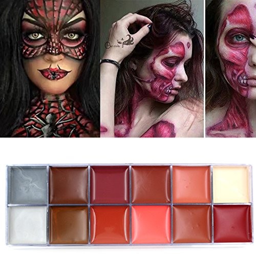 Body Painting Flash Tattoo Imagic Brand 12 Colors Face Paint Palette Halloween Makeup Temporary Tatoos Glowing Painting Make Up (Halloween Color Palette)