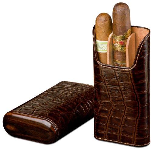 Double Corona Cigar Box (Brizard & Co Croco Tobacco Leather 3 Finger Cigar Case)
