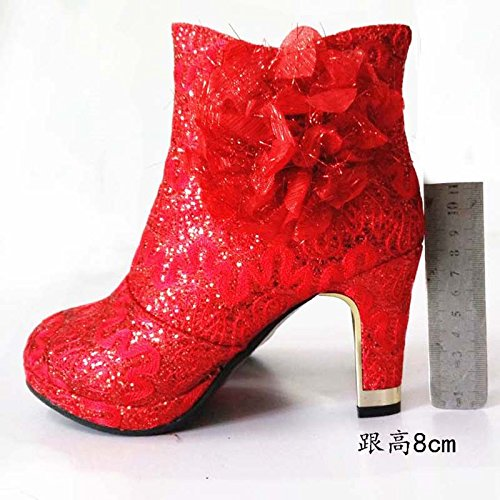 Zapatos gruesas de Zapatos de Zapatos Red rojo gules con boda botas KHSKX impermeables algodón Encaje didesmaid de Botas algodón fF05gxqwx
