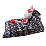Oldeagle Kids Soft Pouch Stripe Fabric Chair Stuffed Animal Plush Toy Storage Bean Bag Space Saver (F)
