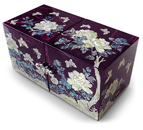 Purple Jewelry Box Trinket Organizer Mother of Pearl Inlay Lacquered Twin Cube With Drawers Floral ()