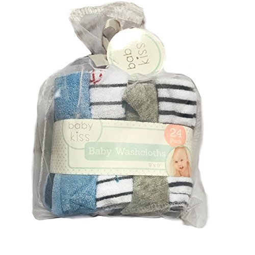 Baby Kiss Washcloth Assorted Sets | 24 Washcloths Assorted Styles/Colors Black, White and Gray (Light Blue, Anchors, Gray, Thin Black Stripes) - Kiss Stripe