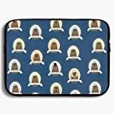 "13"" 15"" Zipper Laptop Sleeve Bag - Cute Famous Groundhogs Blue Carring Case"