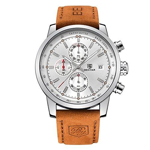 Leather Strap Double Calendar Fashion Quartz Watch Men' Sport Watch 30M Waterproof Fashion Casual Wrist Watch