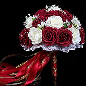 Balalei Wedding Bouquet Pink/Red/White/Bridal Bridesmaid Flower Artificial Flower Rose Bouquet Bride 2