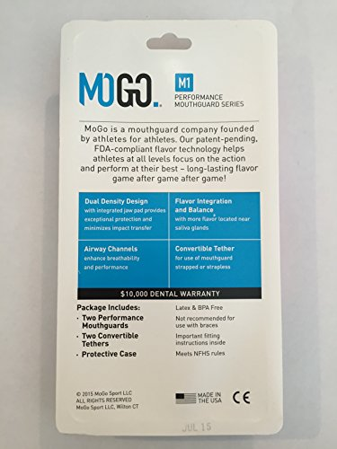 MOGO. Flavored 2 Pack Mouth Guards - Adult Sports Mouthguard for Ages 11 and Up - Mouthpiece for MMA, Football and Lacrosse - Tether Strap, Fitting Instructions and Carry Case (Orange) by MOGO. (Image #5)