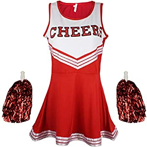 Cherry-on-Top - Uniforme da cheerleader con pompon, vari colori e taglie disponibili 10 spesavip