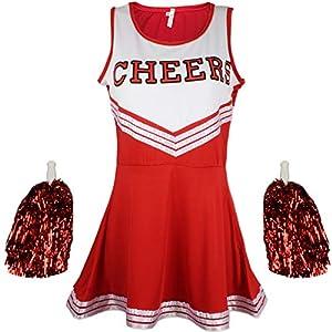 Cherry-on-Top - Uniforme da cheerleader con pompon, vari colori e taglie disponibili 5 spesavip