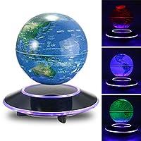 Jeteven 6'' Magnetic Rotating Globe Anti-Gravity Floating Levitating Earth Multi-Color LED Display 360 Degree Rotating for Desktop Office Home Decor Kids Educational Home Decor Blue