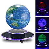 Jeteven 6'' Magnetic Rotating Globe Anti-Gravity Floating Levitating Earth Multi-Color LED Display 360 Degree Rotating for Desktop Office Home Decor Kids Educational Home Decor