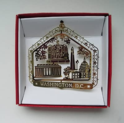 Washington D.C. Christmas ORNAMENT Brass DC City Souvenir Travel Gift