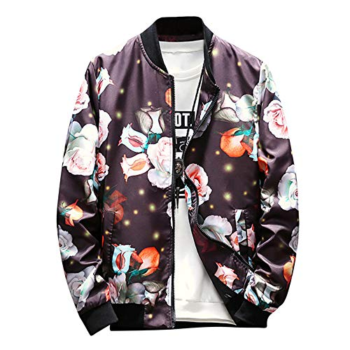 (Rambling Mens Casual Retro Printed Jacket Outdoor Sportswear Windbreaker Lightweight Bomber Jackets and Coats)