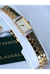Lassale Watches Seiko Top of the Line Sapphire Cryst 23k Gold Finish Diam and Safety Chain all made in Japan Women's