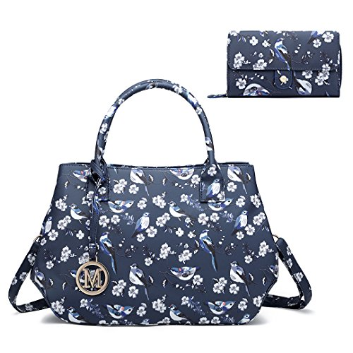 Purse Ladies handle Set Bird Lulu Flower Bag Bag Top Navy Miss Tote Matching Fashion Handbag Oilcloth qC0p5Ow