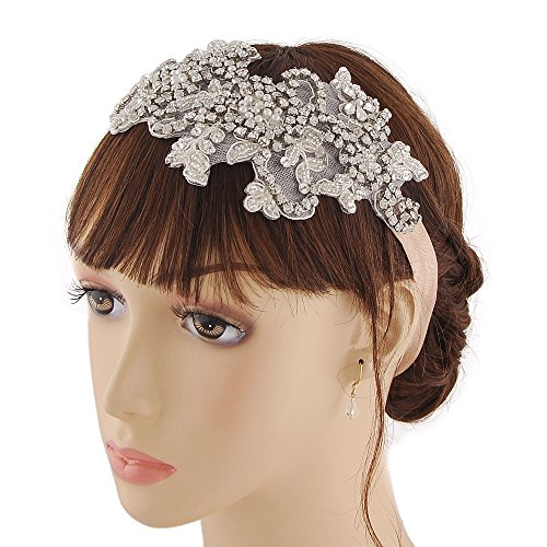 THK-Wedding Hairpiece Wedding Headband Rhinestones Bridal Hairpiece Wedding Accessory Wedding Headwear With Champagne Elasticized Elastic Belt