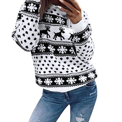 BSGSH Women's Christmas Sweatshirt Reindeer Snowflake Printed Long Sleeve Crew Neck Pullover Top (Black, (Snow Crewneck Top)
