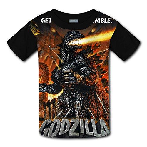 RODONO Unisex Kids Godzilla 3D Printed Round Collar Short Sleeve T- Shirt (Godzilla Size Chart)