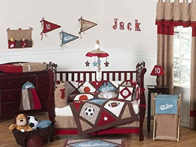 All Star Sports Red Blue And Brown Baby Boy Bedding 9pc Crib Set By Jojo Designs from Sweet Jojo Designs