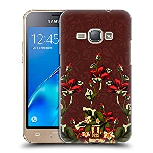 Head Case Designs Marsala And Red Floral Floral Art Deco Hard Back Case for Samsung Galaxy J1 (2016)
